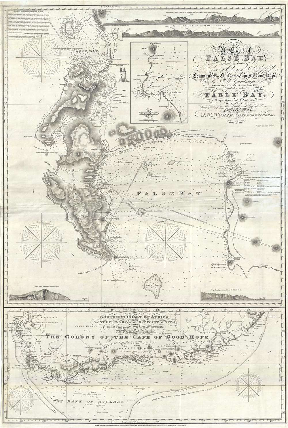 A Chart of False Bay Surveyed by Order of Rear Admiral Stopford, Commander in Chief at the Cape of Good Hope, by P. W. Gawthorpe, Master of His Majesty's Ship Lion, 1812; to which is added Table Bay, with Cape Twon and its Environs.