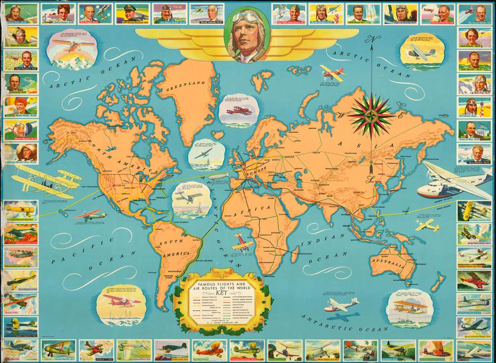 1937 Heinz Pictorial Map of the World Tracing Famous Flights and Airlines