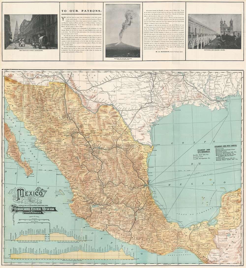 Mexico Mapa de las Lineas de la Compañia Limitada del Ferrocarril Central Mexicano y Conexiones. - Main View
