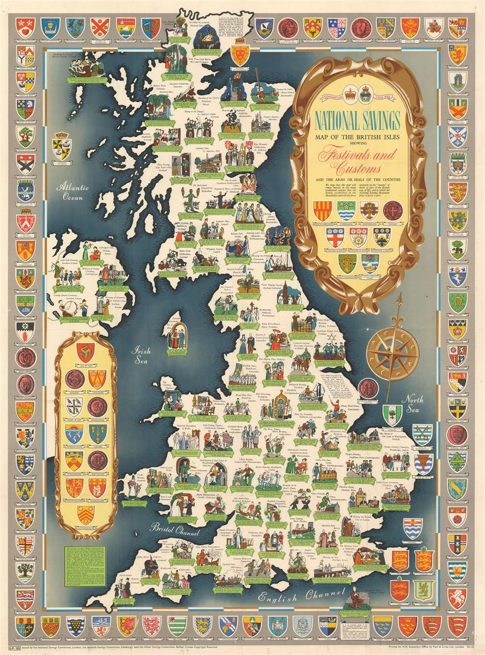 National Savings Map of the British Isles Showing Festivals and Customs and the Arms or Seals of the Counties.