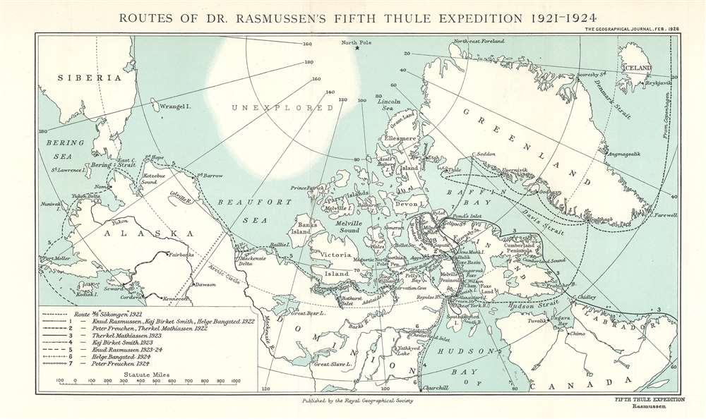 Routes of Dr. Rasmussen's Fifth Thule Expedition 1921 - 1924. - Main View