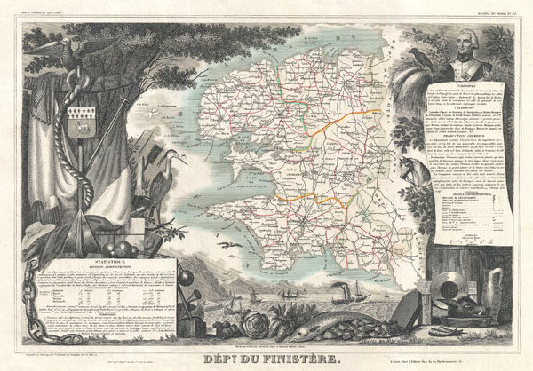 1852 Levasseur Map of the Department du Finistere, France