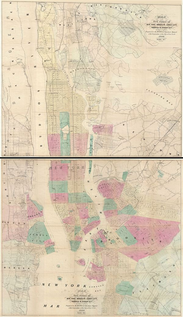 Map of the Five Cities of New York, Brooklyn, Jersey City, Hoboken & Hudson City.