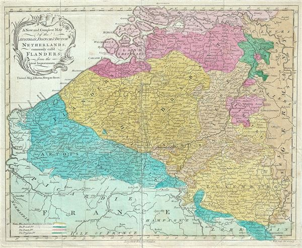 A New and Compleat Map of the Austrian, French and Dutch Netherlands, commonly call'd Flanders.