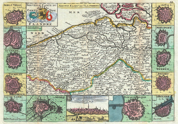 Nouvelle Carte Du Comte de Flandre. / Nieuwe Kaart van Vlaanderen.