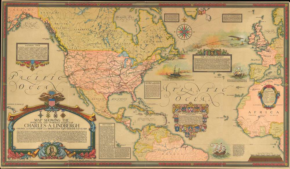 Map Showing the Overland and Overseas Flights of Charles A. Lindbergh. - Main View