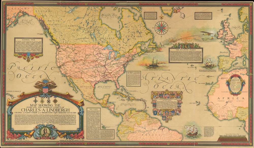 1928 Clegg Pictorial Map of the World Tracing the Flights of Charles Lindbergh