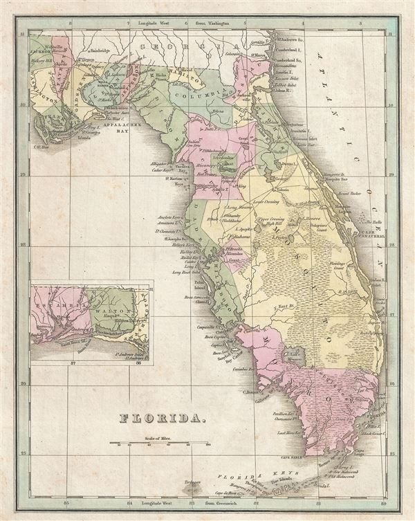 Antique Map Of Florida.Florida Geographicus Rare Antique Maps