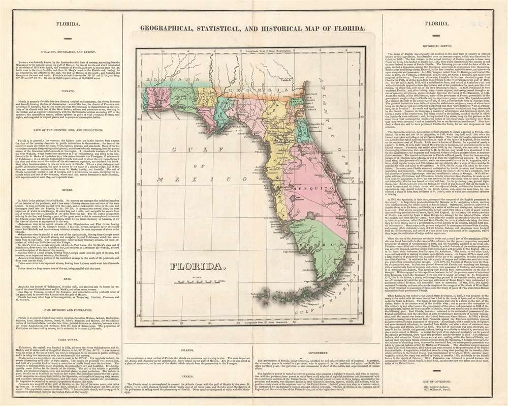 1827 Carey and Lea Map of Florida