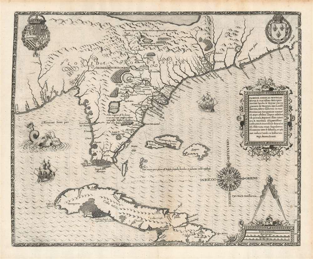 Floridae Americae Provinciae Recens and Exactissima Descriptio Auctore Iacobo Le Moyne cui Cognomen de Morgues, qui Laudonierum … - Main View