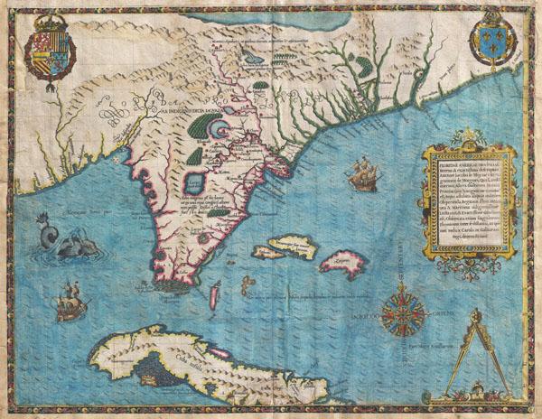 Floridae Americae Provinciae Recens & Exactissima Descriptio Auctore Iacobo Le Moyne cui Cognomen de Morgues, qui Laudonierum …