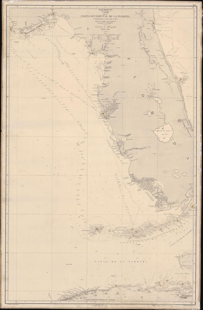 Seno Mejicano.  Carta de la Costa Occidental de la Florida y Parte de La Isla de Cuba segun los trabajos mas modernos nacionales y estrangeros.
