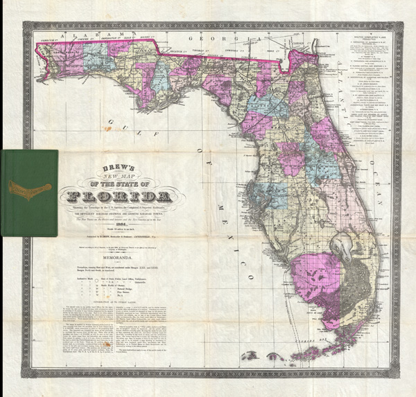 Drew's New Map of the State of Florida Showing the Townships by the U. S. Surveys, the Completed & Projected Railroads, the Diffferent Railroad Stations and Growing Railroad Towns.  The New Towns on the Rivers and interior and the New Counties up to the Year 1884.