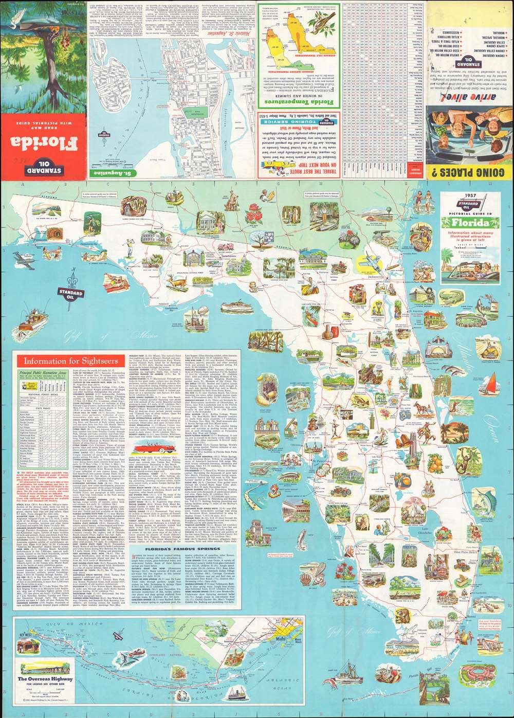 Florida. Road Map with Pictorial Guide. - Main View