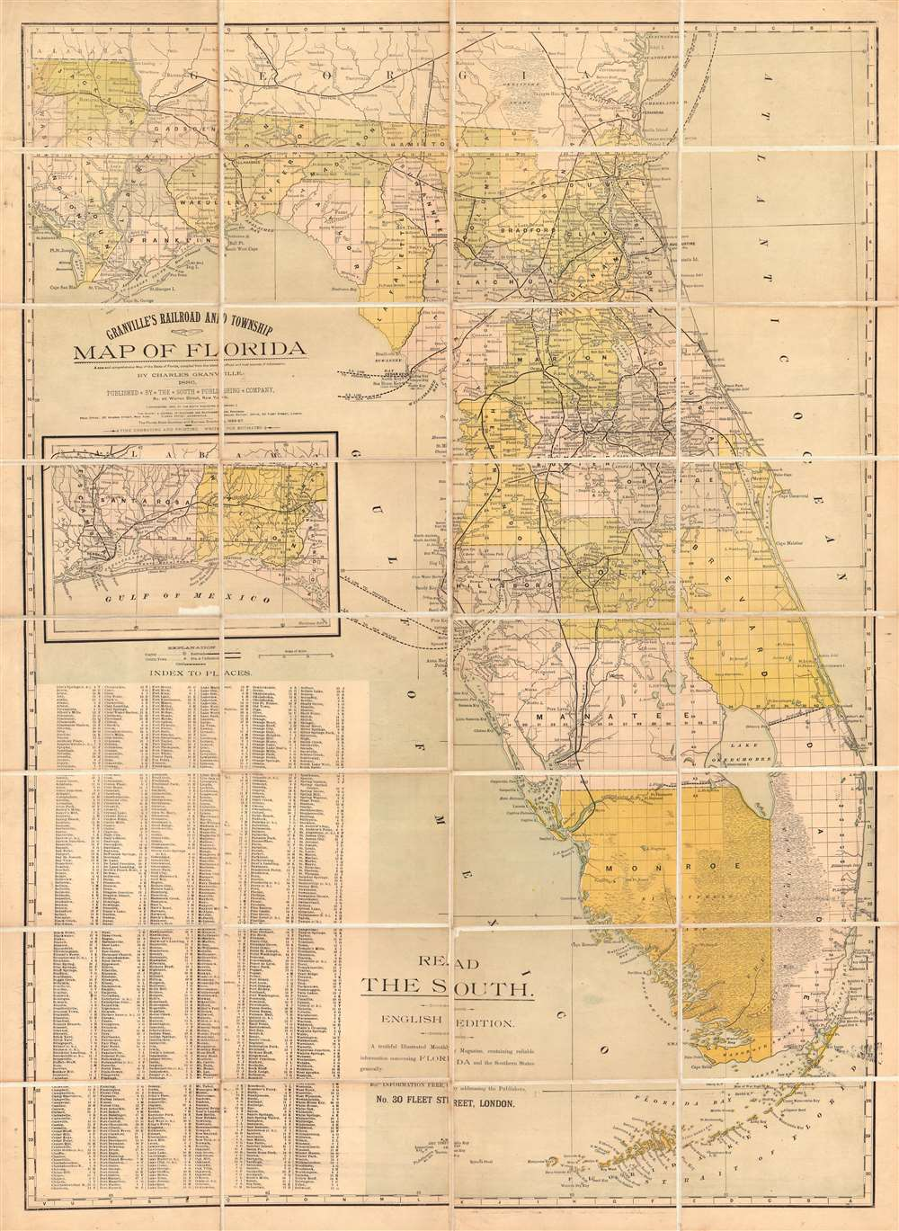 Granville's Railroad and Township Map of Florida.