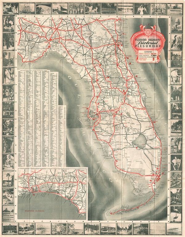 Florida Highway Pictorial Plesurmap.