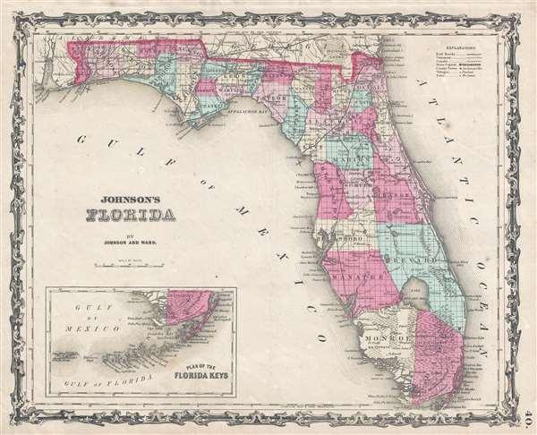 1862 Johnson and Ward Map of Florida