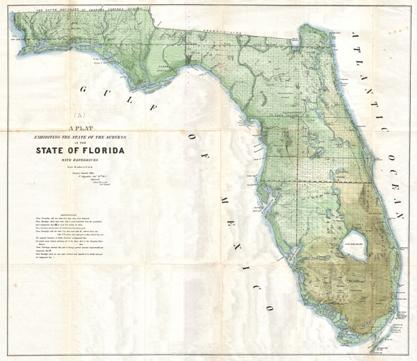 (A) A Plat Exhibiting the State of the Surveys in the State of Florida with References. - Main View