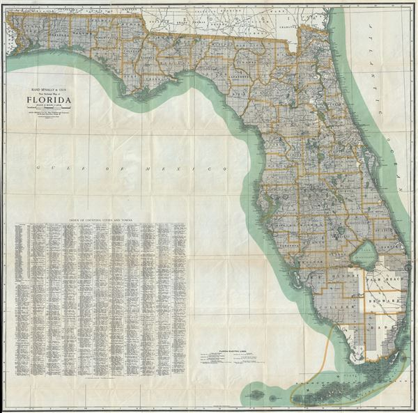 Rand McNally and Co.'s New Sectional Map of Florida. - Main View