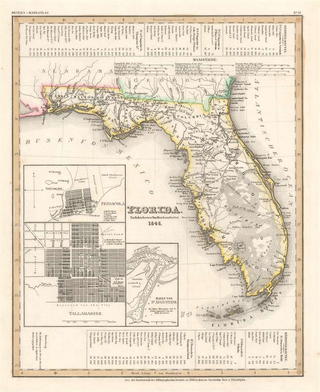 1845 First Edition Joseph Meyer Map of Florida