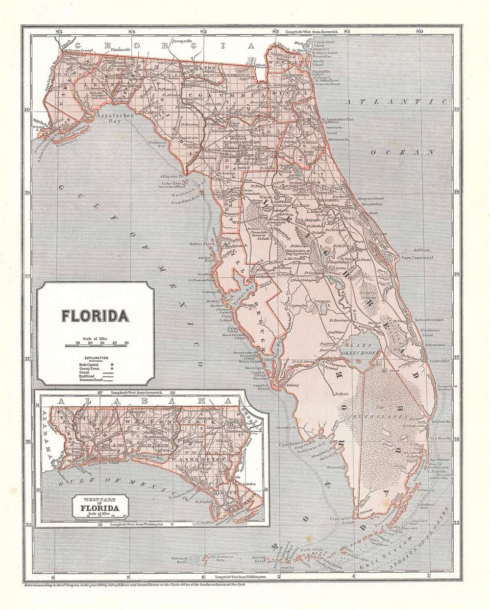 1845 Morse and Breese Map of Florida