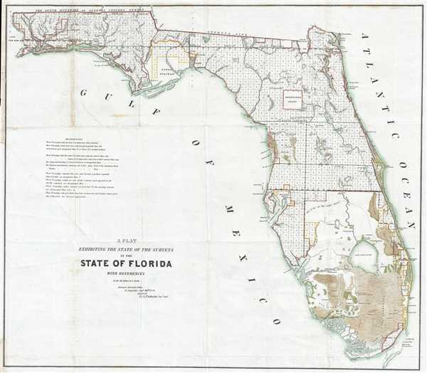 A Plat Exhibiting the State of the Surveys in the State of Florida.