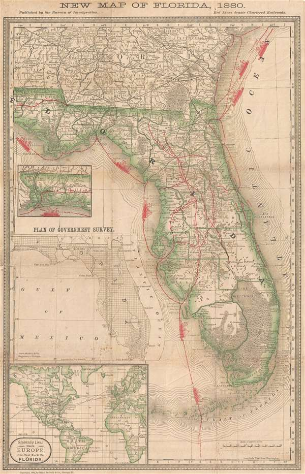 New Map of Florida, 1880.