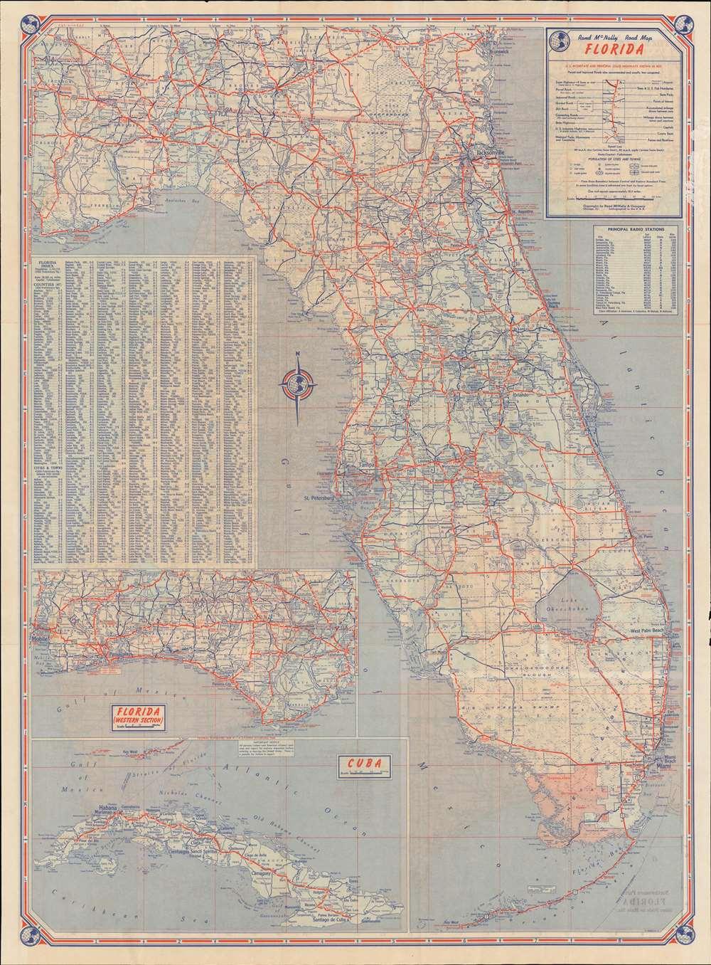 Rand McNally Standard Map of Florida. / Rand McNally Road Map Florida. - Alternate View 1