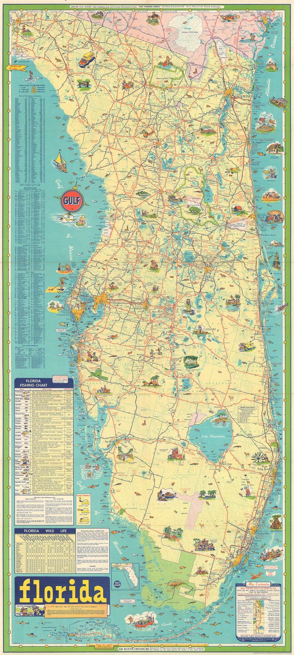 Florida Road Map Atlas.Florida Geographicus Rare Antique Maps