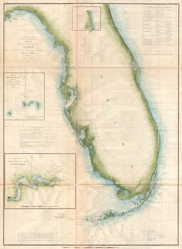 Sketch F Showing the Progress of the Survey in Section VI. With a General Reconnaissance of the Coast of Florida 1848-55. - Main View