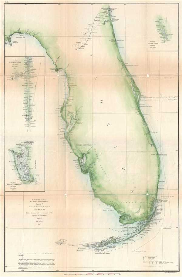 Sketch F Showing the Progress of the Survey in Section VI. With a General Reconnaissance of the Coast of Florida 1848-61.
