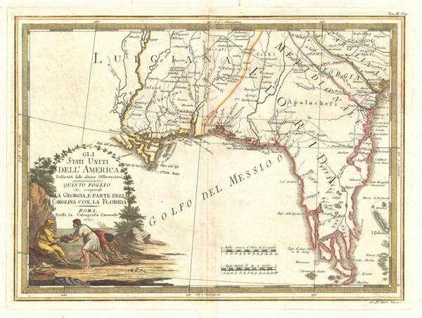 Gli Stati Uniti dell' America delineati sulle ultime Osservazioni. Quinto Fogloi che comprende La Georgia, e parte della Carolina con, la Florida.