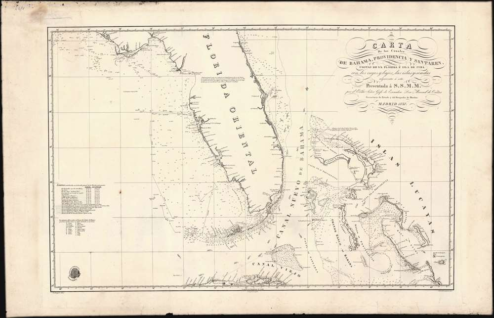 Carta de los Canales de Bahama, Providencia y Santaren, Costas de la Florida e Isla de Cuba con los cayos y bajos, las islas y sondas adyacentes a esta... - Alternate View 2