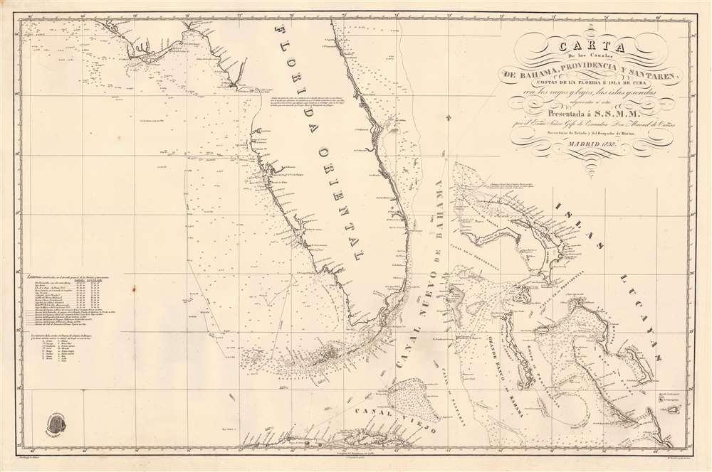 Carta de los Canales de Bahama, Providencia y Santaren, Costas de la Florida e Isla de Cuba con los cayos y bajos, las islas y sondas adyacentes a esta... - Main View