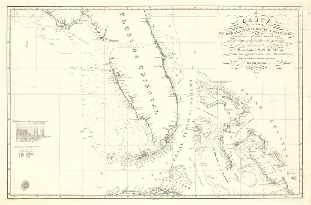 Carta de los Canales de Bahama, Providencia y Santaren, Costas de la Florida e Isla de Cuba con los cayos y bajos, las islas y sondas adyacentes a esta - Main View