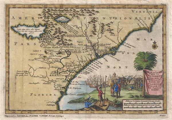 Zee en Land Togten der Franszen Gedaan na, en in't Americaans Gewest van Flordia, aller-eerst door Ioh. Pontius ontdekt. - Main View