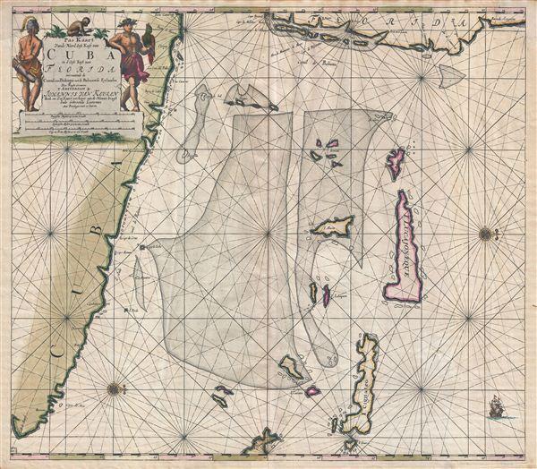Pas Kaart Vande Noord Oost Kust van Cuba en d'Oost Kust van FLORIDA vervaatende de Canal van Bahama met de Bahaamse Eylende Door Vooght Goemetra�
