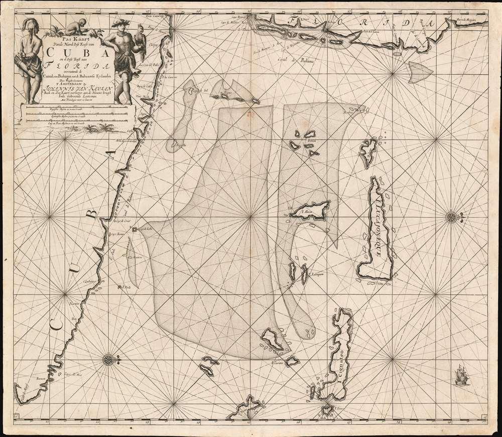 Pas Kaart Vande Noord Oost Kust van Cuba en d'Oost Kust van FLORIDA vervaatende de Canal van Bahama met de Bahaamse Eylende Door Vooght Geometra… - Main View