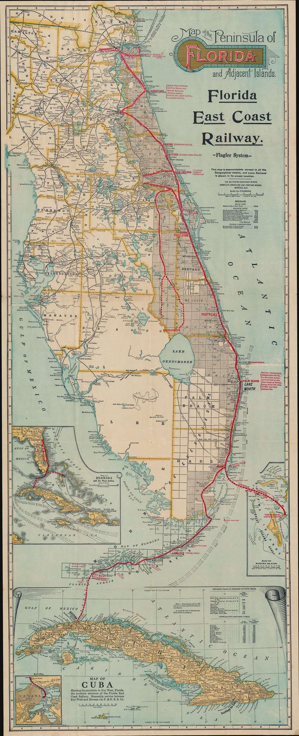 1914 Florida East Coast Railway Railroad Map of Florida