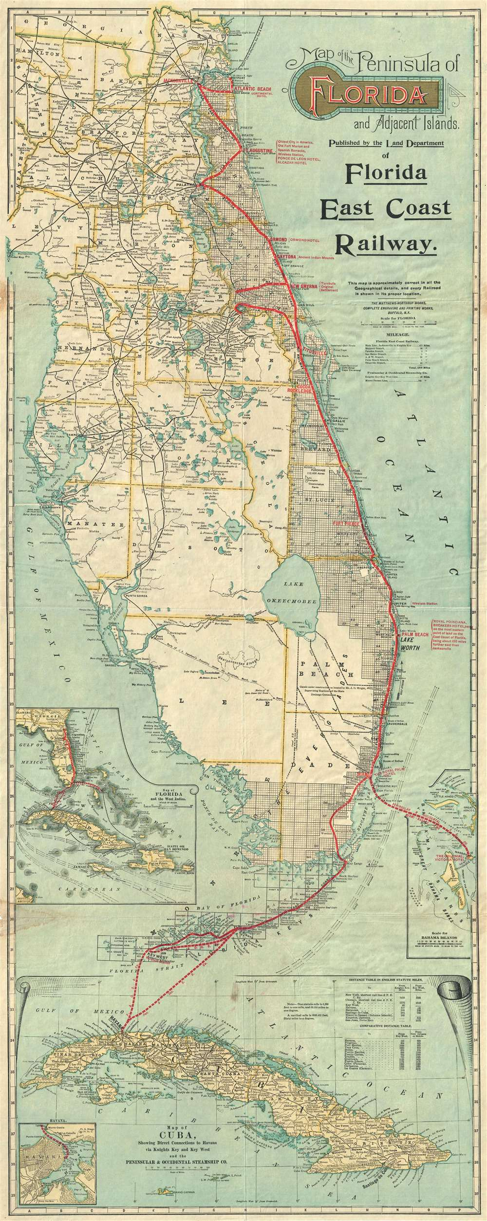 Map of the Peninsula of Florida and Adjacent Islands ...