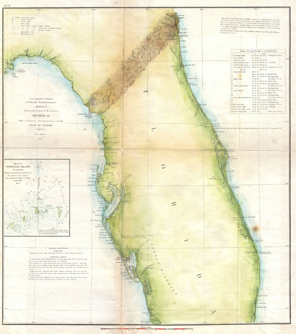 Sketch F Showing the Progress of the Survey in Section VI. With a General Reconnaissance of the Coast of Florida 1848-57.