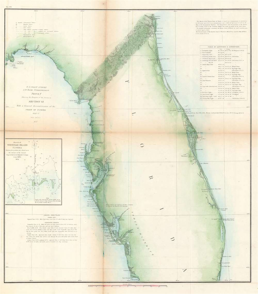 Sketch F Showing the Progress of the Survey in Section VI. With a General Reconnaissance of the Coast of Florida 1848-57. - Main View