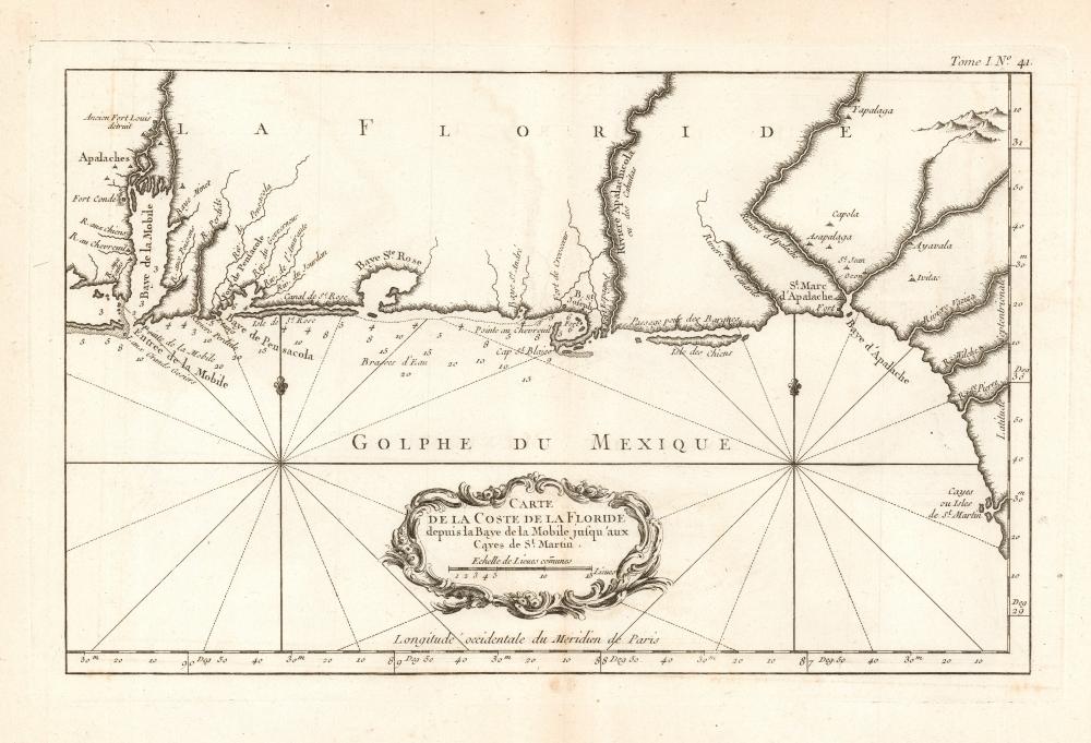 Carte de la Coste de la Floride depuis la Baye de la Mobile jusqu'aux Cayes de St. Martin. - Main View