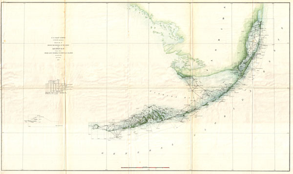 Sketch F Showing the Progress of the Survey in Section No. VI (Lower Sheet) From Cape Florida to Tortugas Islands from 1845 to 1859.