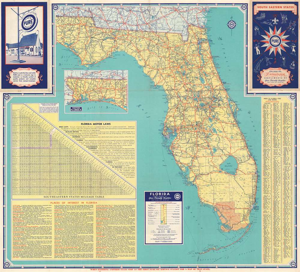 1940 Rand McNally and Pure Oil Map of Florida
