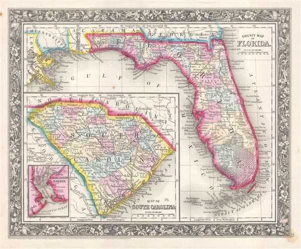 1861 Mitchell Map of Florida and South Carolina