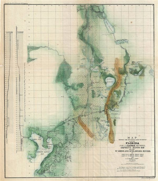 Map Showing the Different Lines of Survey Across Florida for a Canal Between; Espiritu Santo bay and the St. Johns and Ocklawaha Rivers. - Main View