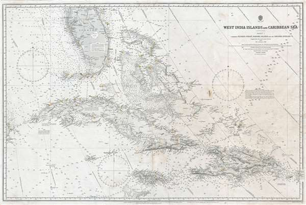 West India Islands and Caribbean Sea. Sheet 1. Comprising Florida Strait, Bahama Islands and the Greater Antilles.