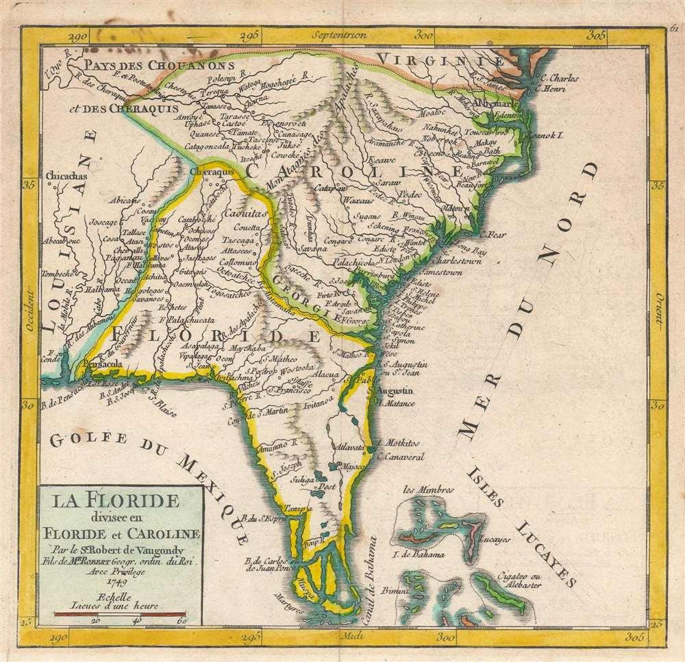 La Floride divisee en Floride et Caroline. Par le Sr. Robert de Vaugondy, Fils de Mr. Robert Geogr. ordin. du Roi. - Main View