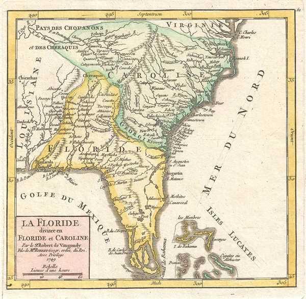 La Floride divisee en Floride et Caroline. Par le Sr. Robert de Vaugondy, Fils de Mr. Robert Geogr. ordin. du Roi.